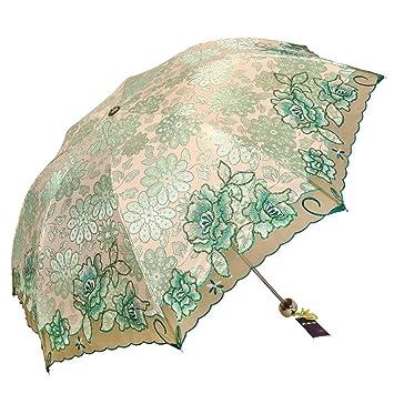 MOMO Paraguas Bordado Mujer Tres sombrillas Plegables parasoles Paraguas UV Paraguas Lluvia súper Liviana Paraguas Doble
