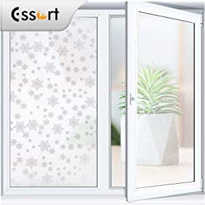 ESSORT Window Privacy Film, One Way Mirrored Film, Anti UV Sunscreen Sunblock Film, Self-Adhesive Heat Control, for Office Home Daytime Privacy (35.4 Inch x 6.5 Feet, Snowflake)