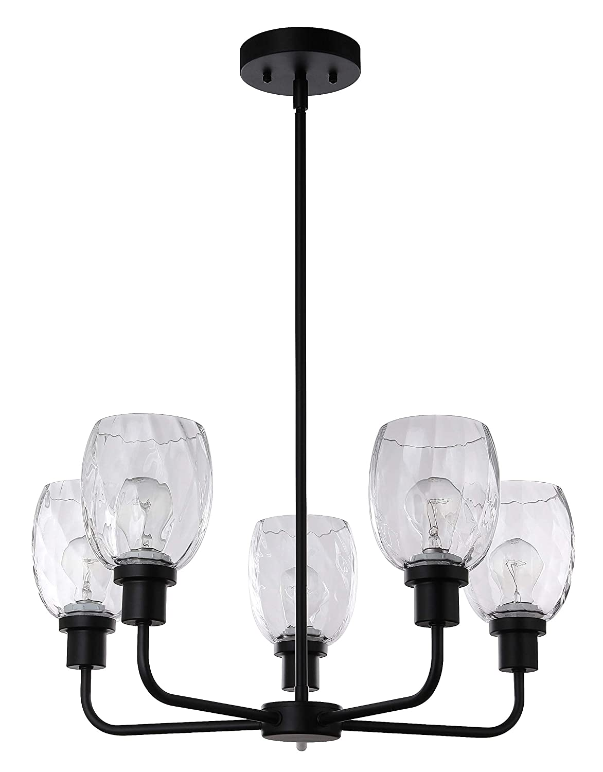 Chandelier Lights 5 Light Modern Pendant Light with Glass in Matte Black Adjustable Pendant Lighting for Dinning Living XiNBEi-Lighting XB-C1210-5-MBK
