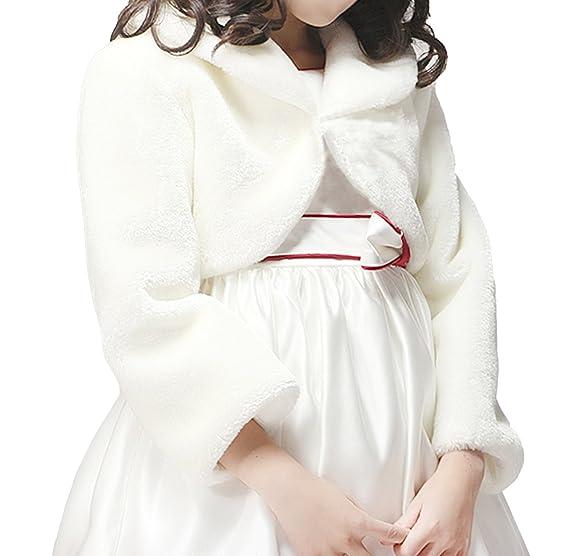 Diseño de flores y diseño de flores de pelo sintético de equitación para niña de color marfil de manga larga boleros/Toreras/chaqueta de hípica para niños: ...
