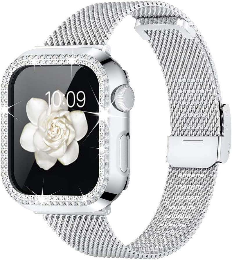 Goton Compatible for Apple Watch Band 38mm 40mm 42mm 44mm with Bling Case for Women, Stainless Steel Mesh Metal Replacement Strap with Case for iWatch Series 6 5 4 3 2 1 se (Silver, 38mm)