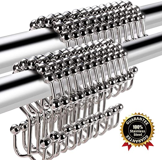 Shower Curtain Hooks Rings Double Glide Roller Stainless Steel BRUSHED NICKLE