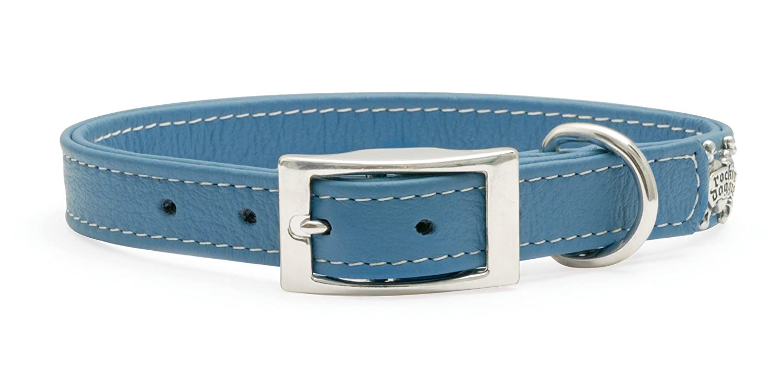 Rockin' doggie Plain Leather Dog Collar, 1 2 by 10-Inch, bluee