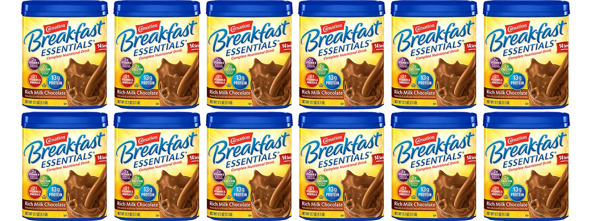 Carnation Breakfast Essentials Chocolate Powder, 17.7-Ounce Canisters (Pack of 12) by Carnation Breakfast Essentials