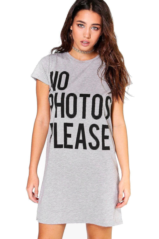 Grey Womens No Photos Please Slogan T-Shirt Dress