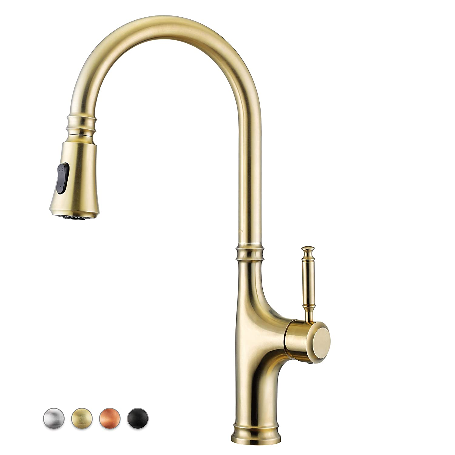 Primy Kitchen Faucets with Pull Down Sprayer, Modern Lead-Free Single Handle High-Arc Kitchen Sink Faucet With Deck Plate, Height 19-51 64 , Luxurious PVD Vibrant Champagne Gold Finished, 2117