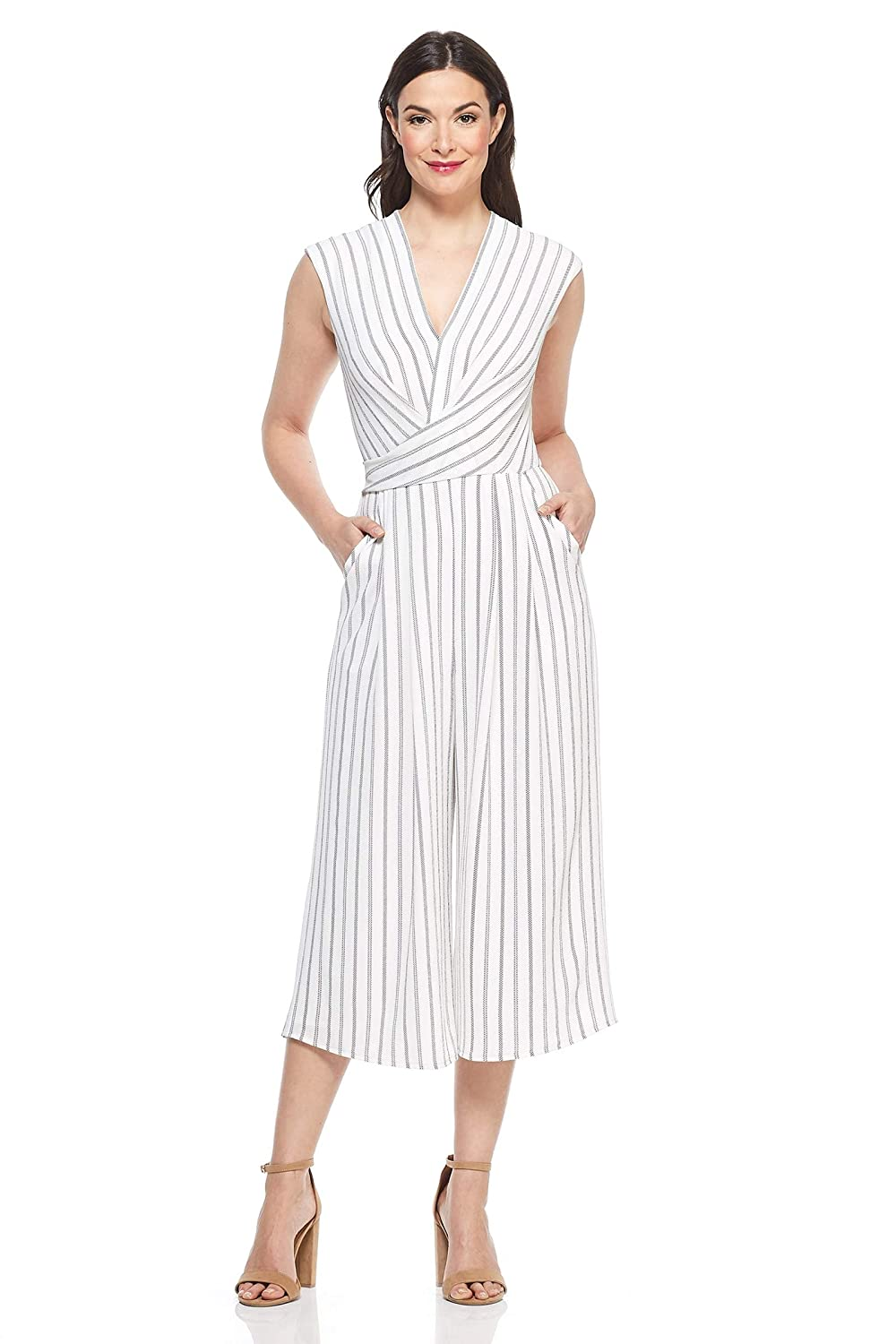 Soft White Black Maggy London Women's Rope Stripe Drape Neck Novelty Jumpsuit