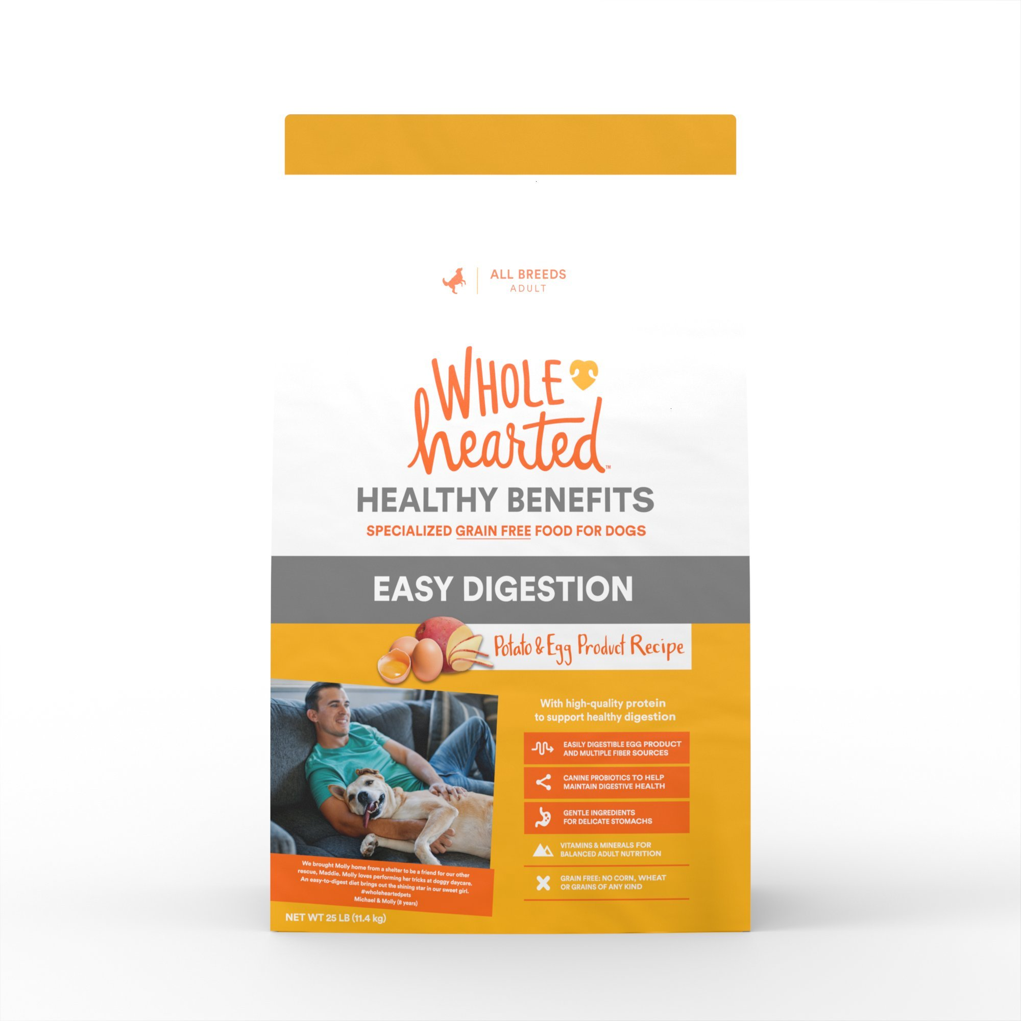 WholeHearted Grain Free Healthy Benefits Easy Digestion Potato and Egg Product Recipe Dry Dog Food, 25 lbs. by WholeHearted