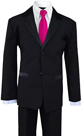 49c5bc57bb Formal Tuxedo Dress Suit in black with a Fuchsia Long Neck Tie (Small (3
