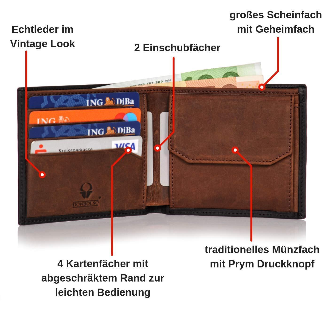 7279f91c43d16 Donbolso Herren Leder Geldbörse Sevilla - Klassisches Portemonnaie für  Männer - Wallet mit Geheimfach - Geldbeutel mit RFID Schutz  Amazon.de   Koffer
