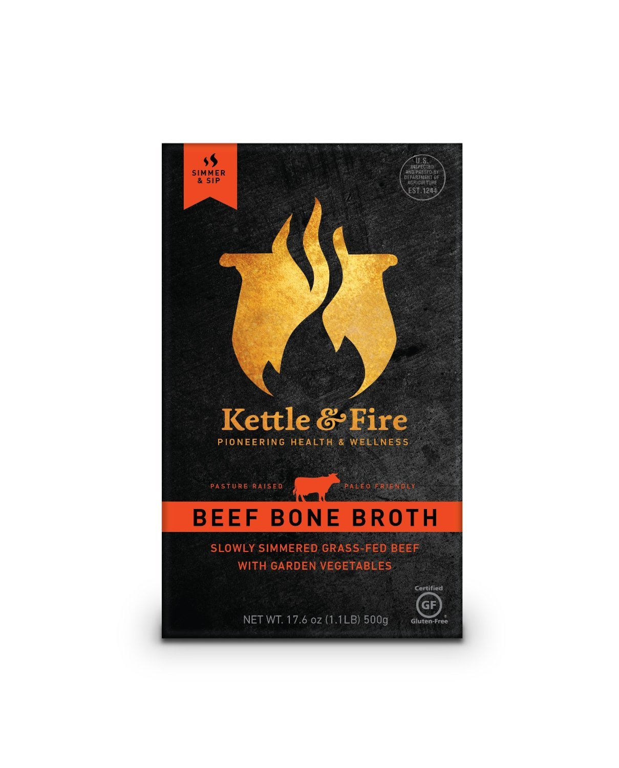 Beef Bone Broth From Grass Fed Cows, Slowly Simmered 24 Hours, 16.9 Oz (4 Pack)