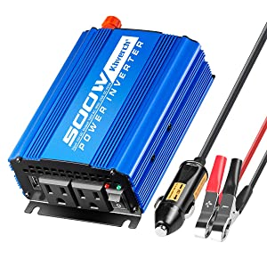 Kinverch 500W Continuous/1000W Peak Car Power Inverter DC 12V to AC 110V Adapter with 2 AC Outlets and 2A USB Charging Port