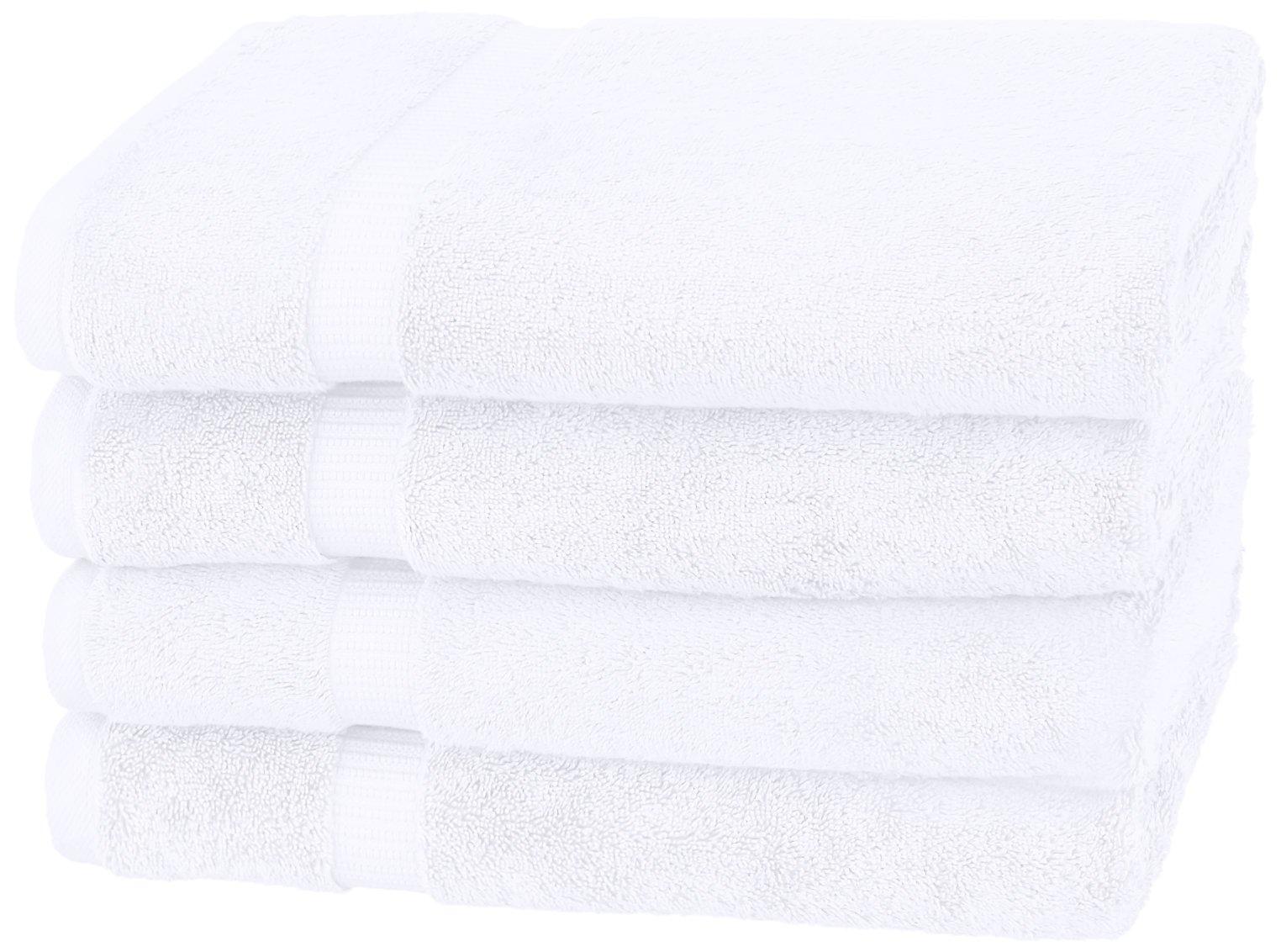 Pinzon - Toallas de baño de mezcla de algodón orgánico, juego de 4, Blanco
