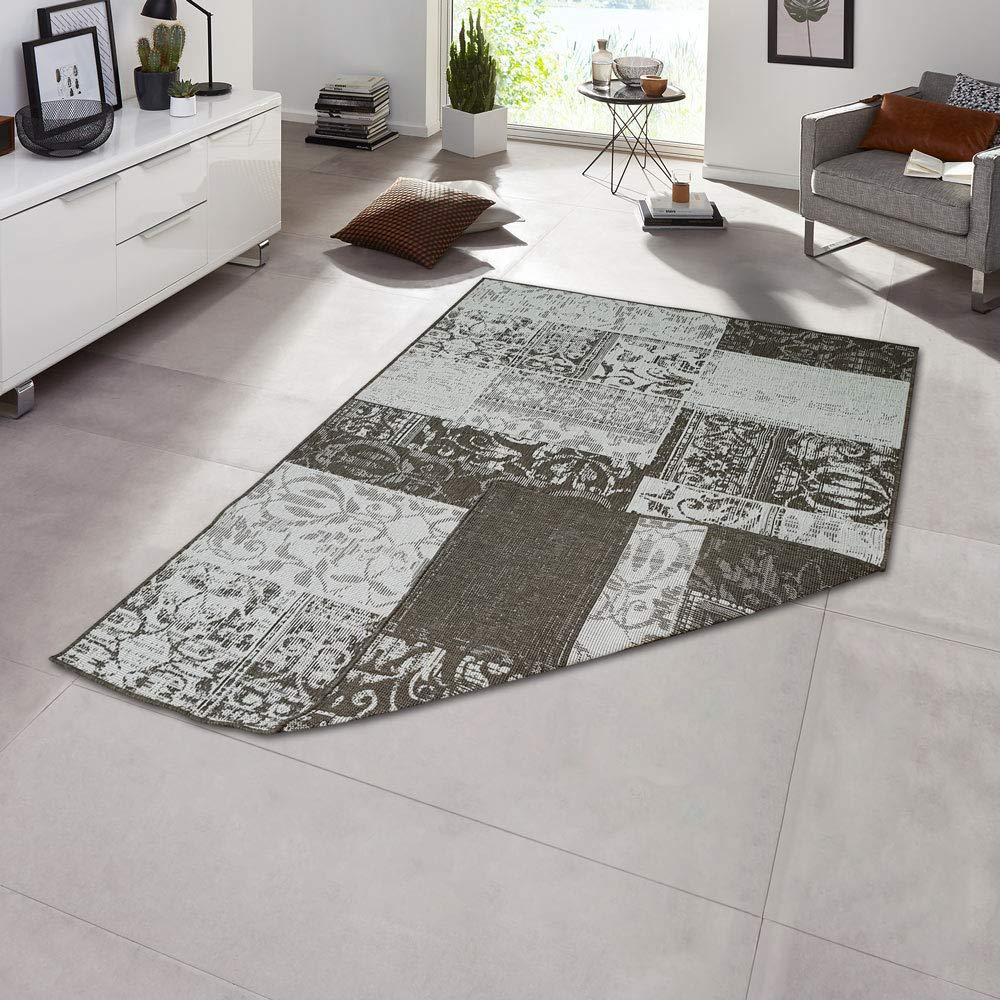 Teppich Boss In- & Outdoorteppich Flachgewebe Wendeteppich Patchwork modern, Größe Größe Größe 200x290 cm, Farbe grau Creme B07QFCMWKP Teppiche 0a9309