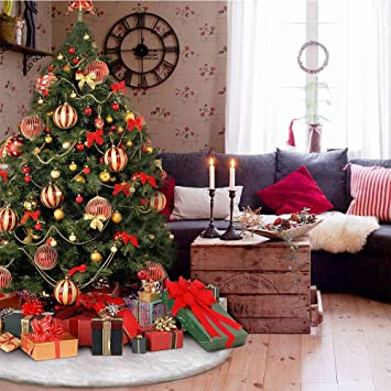 Tenrany Home 30 inches Christmas Tree Skirt Luxury Pure Faux Fur Xmas Skirts Base Soft Snow White Christmas Tree Mat Cover for Christmas New Year Home Decorations Ornaments