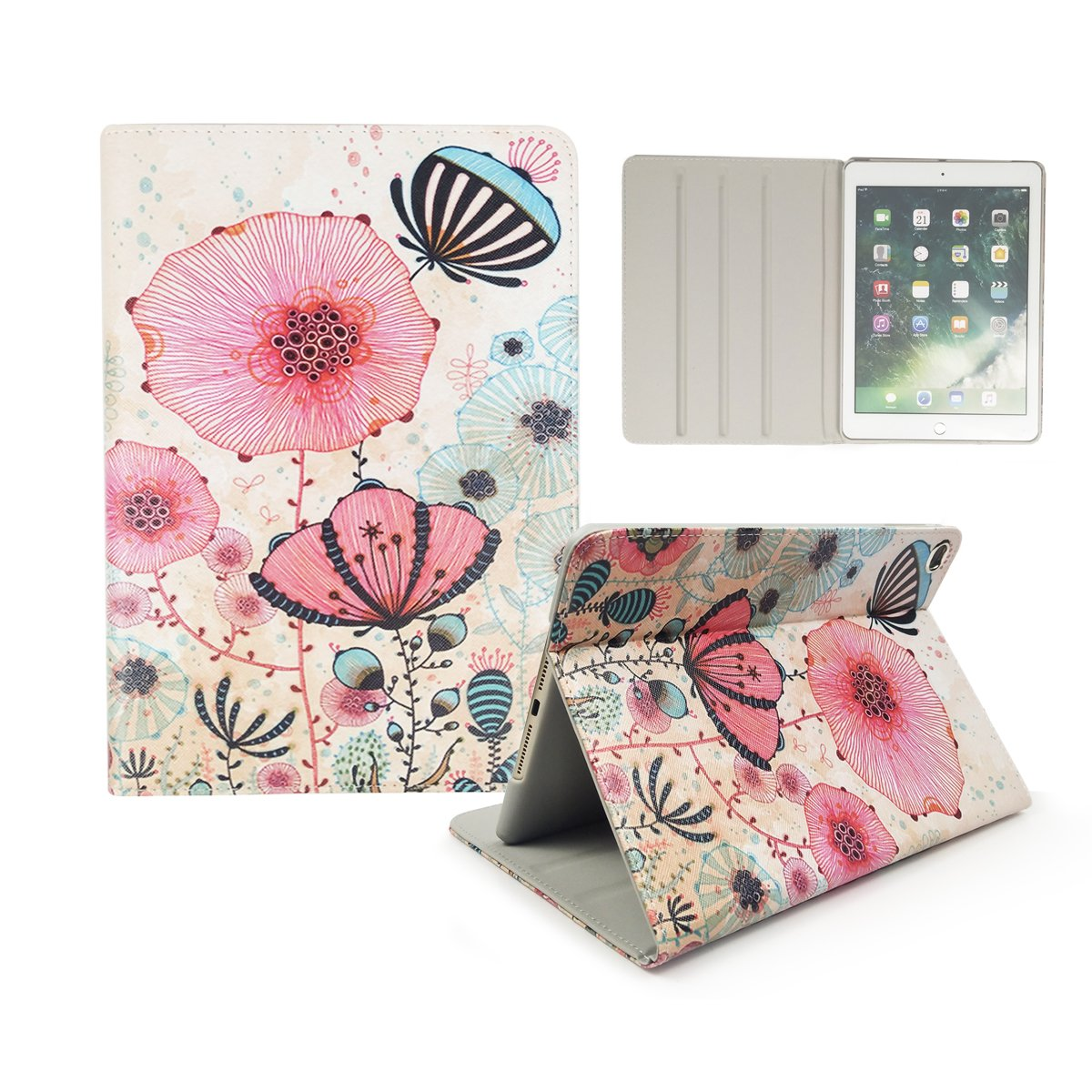 iPad Air 2/iPad Air/iPad 9.7'' 2017 Covers, Hybrid Leather [Kickstand] [Multi-angle Viewing] Cover with PC Inner Protective Case for Apple iPad 9.7 2017/iPad Air 1&2 (iPad 5&6), Colorful Lotus