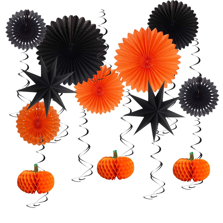 Pumpkin Halloween Party Decorations Set Decorative Hanging Paper Lanterns Tissue Paper Fan for Halloween Party Thanksgiving Home Decoration Party Supplies Props