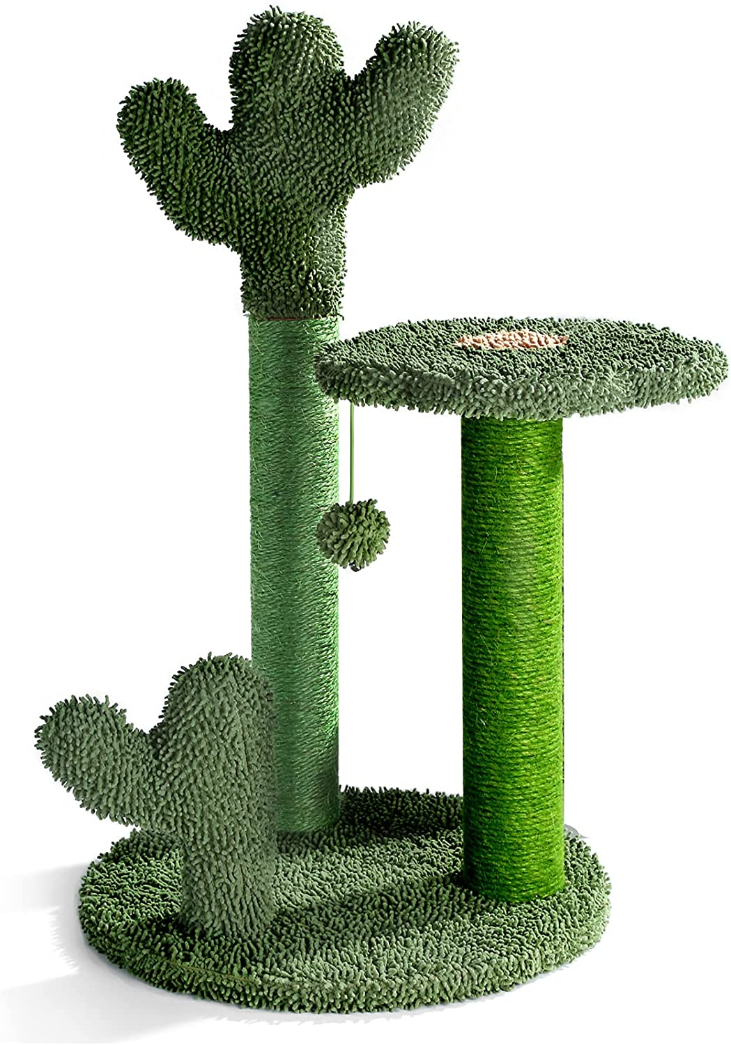 T2Y Cat Scratching Post - Cactus Cat Scratcher Tower with 3 Scratch Post and Dangling Bell Ball, Full Wrapped Premium Natural Sisal Scratching Post for Indoor Cats