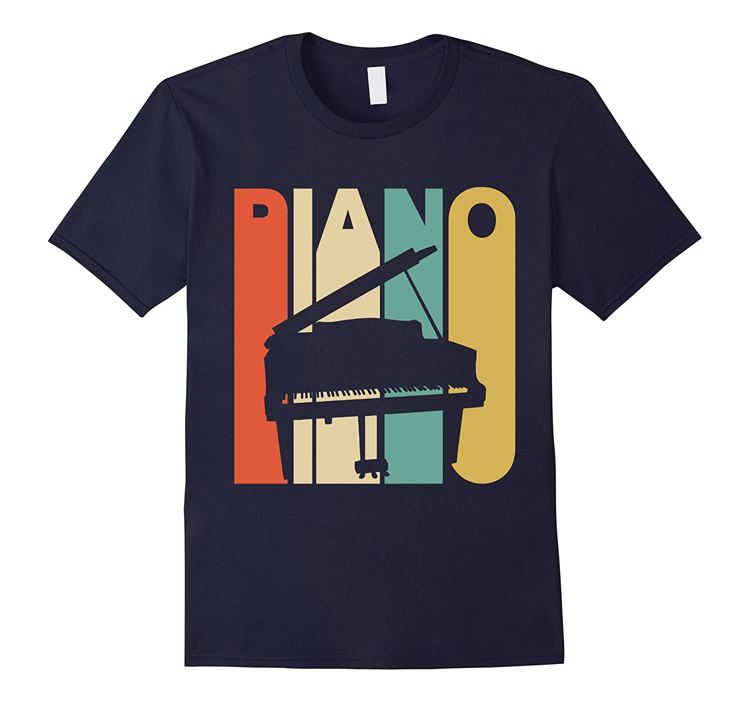 Vintage Style Piano Silhouette T-Shirt-TH
