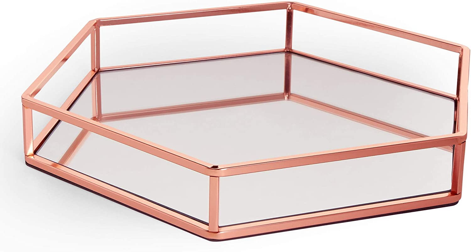 Beautify Copper Mirror Tray Mirrored Tray Decorative Tray Display Tray Perfume Tray Makeup Tray Cosmetic Tray Mirrored Glass Tray Rose Gold Effect Amazon Co Uk Kitchen Home