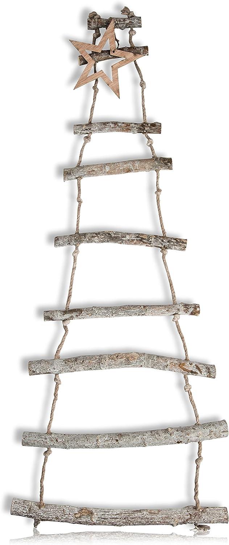 CHICCIE Deko Escalera de Madera para Colgar con Estrella – 110 cm Decoración Escalera Escalera de Madera Navidad Abeto holzäste: Amazon.es: Juguetes y juegos