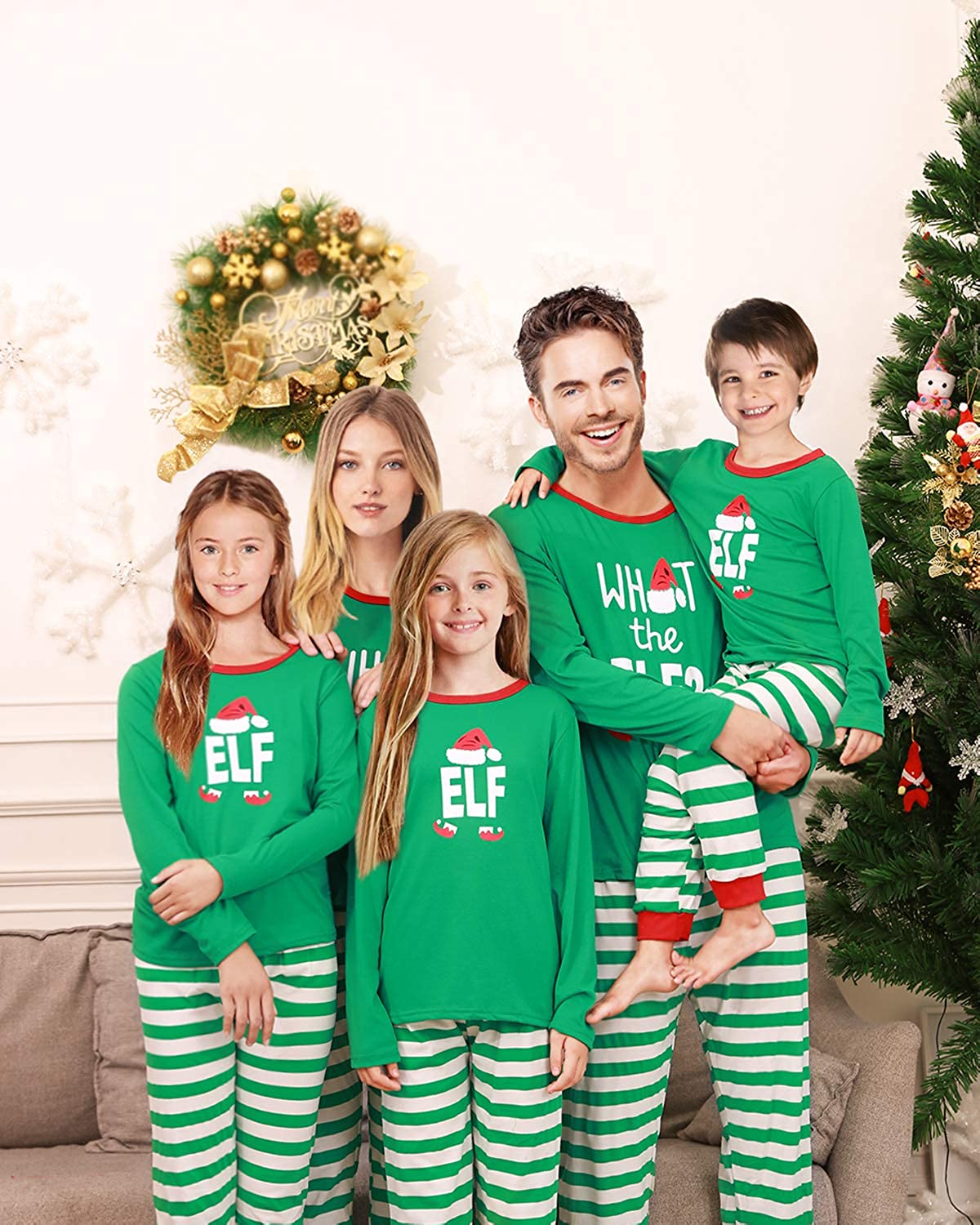 becdbcece0 Amazon.com  Rnxrbb Holiday Christmas Pajamas Family Matching Pjs Set Xmas  Jammies for Couples and Kids Green Cotton  Clothing