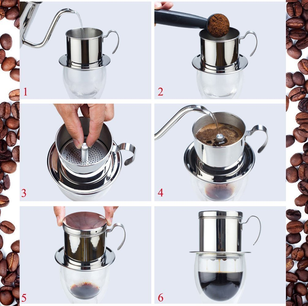 RUVALINO Filtro de café vietnamita Café de acero inoxidable Tazón de goteo (una taza): Amazon.es: Hogar
