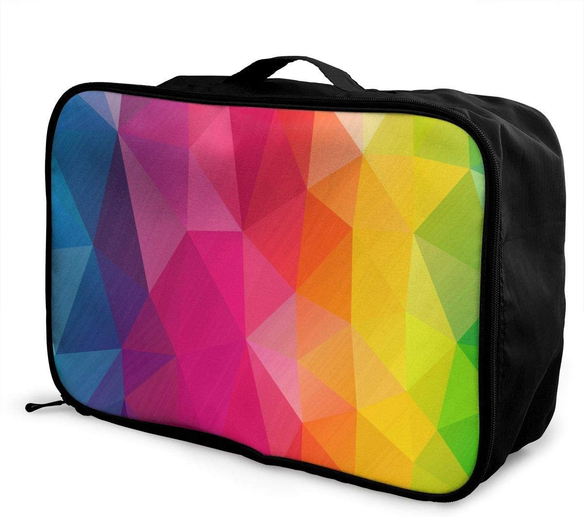 Travel Bags Triangles Colorful Portable Suitcase Trolley Handle Luggage Bag