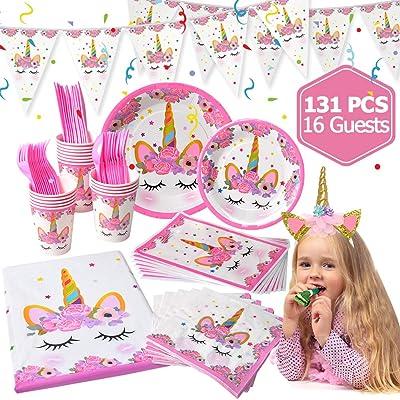 50 Unicorn Party Supplies For Girls Birthday LUDILO 131Pcs Decorations