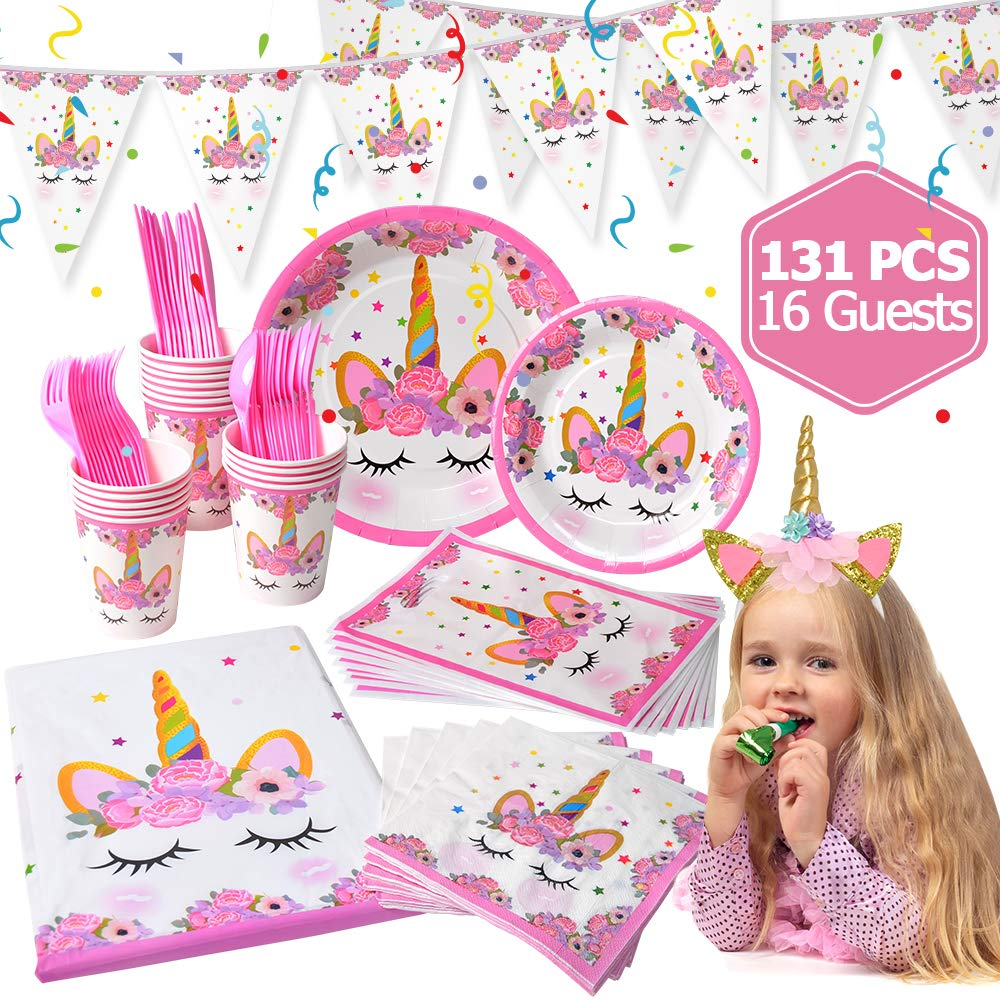 Unicorn Party Supplies for Girls Birthday, LUDILO 131Pcs Unicorn Party Decorations for 1st Birthday Unicorn Headband/Disposable Unicorn Party Favor Bag/Unicorn Tableware/Tablecloth/Napkin, Serve 16