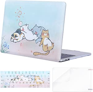 MOSISO MacBook Pro 13 inch Case 2019 2018 2017 2016 Release A2159 A1989 A1706 A1708, Plastic Pattern Hard Shell Case&Keyboard Cover&Screen Protector Compatible with MacBook Pro 13, Cute Cat