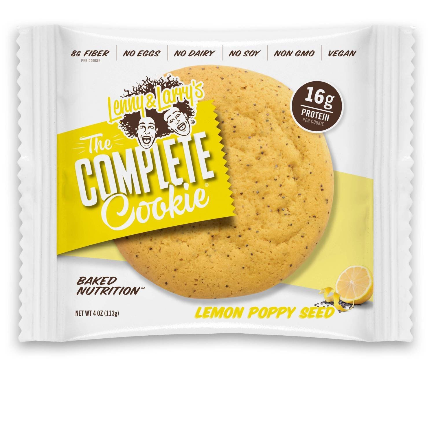 Lenny & Larry's The Complete Cookie, Lemon Poppy Seed, 4-Ounce Cookies (Pack of 12)