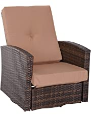 Outsunny Outdoor Patio Reclining Swivel Rattan Wicker Sofa Chair Deluxe Lounge Outdoor Patio Furniture with Cushion, Brown