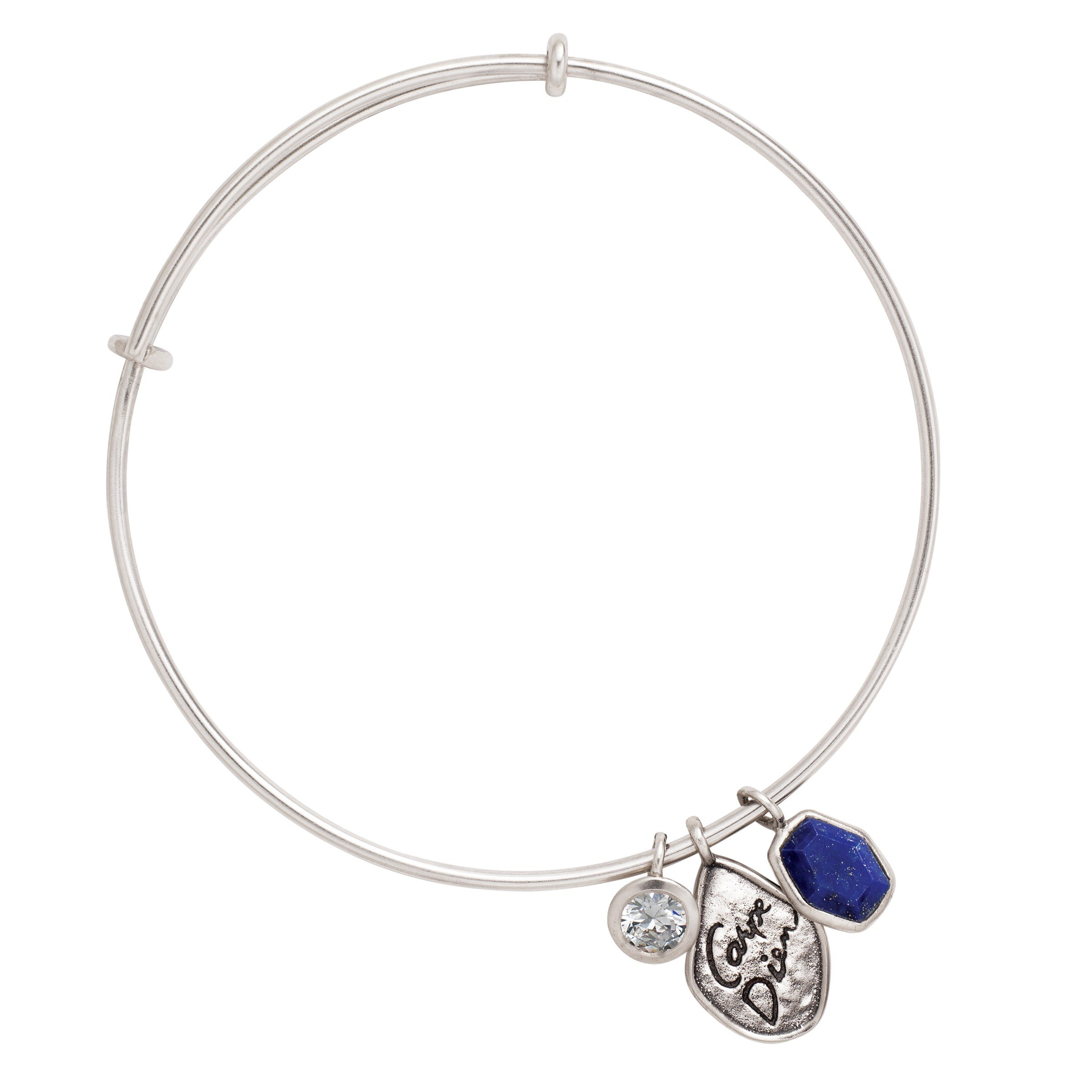 Silpada 'Carpe Diem' Natural Lapis Adjustable Bangle Bracelet with Swarovski Crystals in Sterling Silver, 7.75''