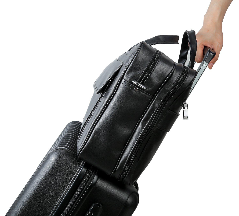 Polare Men's Real Leather Professional 17.7'' Briefcase Shoulder Messenger Business Bag by Polare (Image #7)