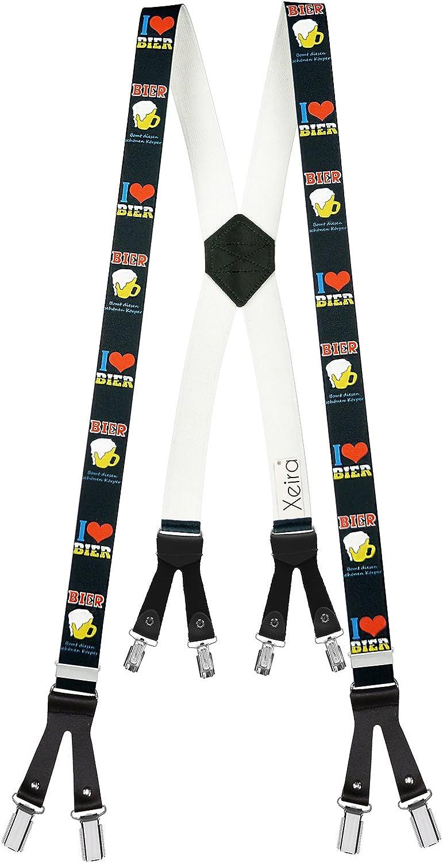Made in Germany Xeira Bretelle X-shape uomo e donna con 8 robuste clip e cinturini in pelle