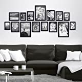Lot de 15 cadres Photolini Collection Basique Moderne Noir en MDF comprenant accessoires / collage de photos / galerie d'images / Multi cadre photo mural