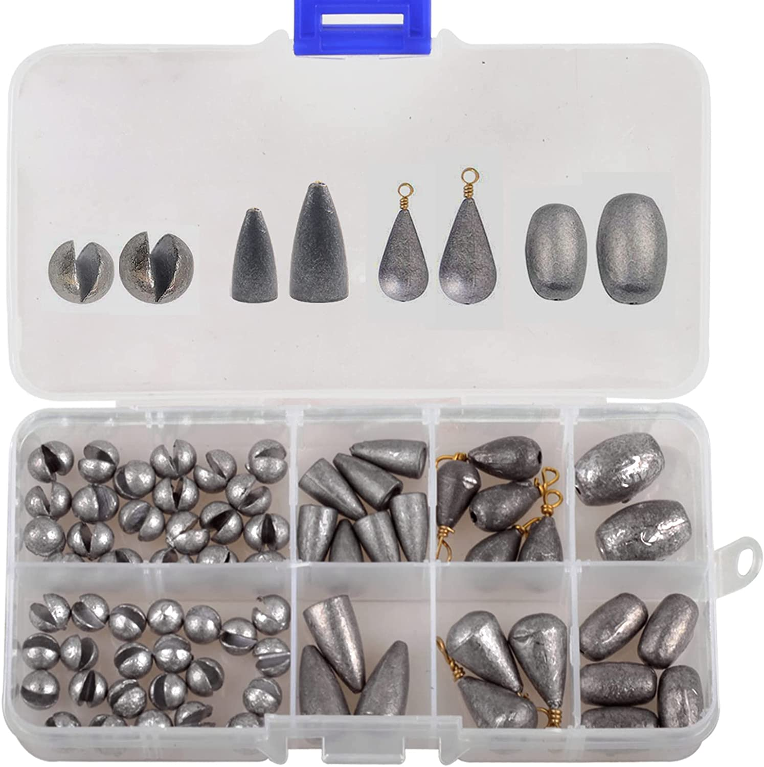 100Pcs//Set Line Sinkers Weights Hook Connector Round Shaped Fishing Lead Tools