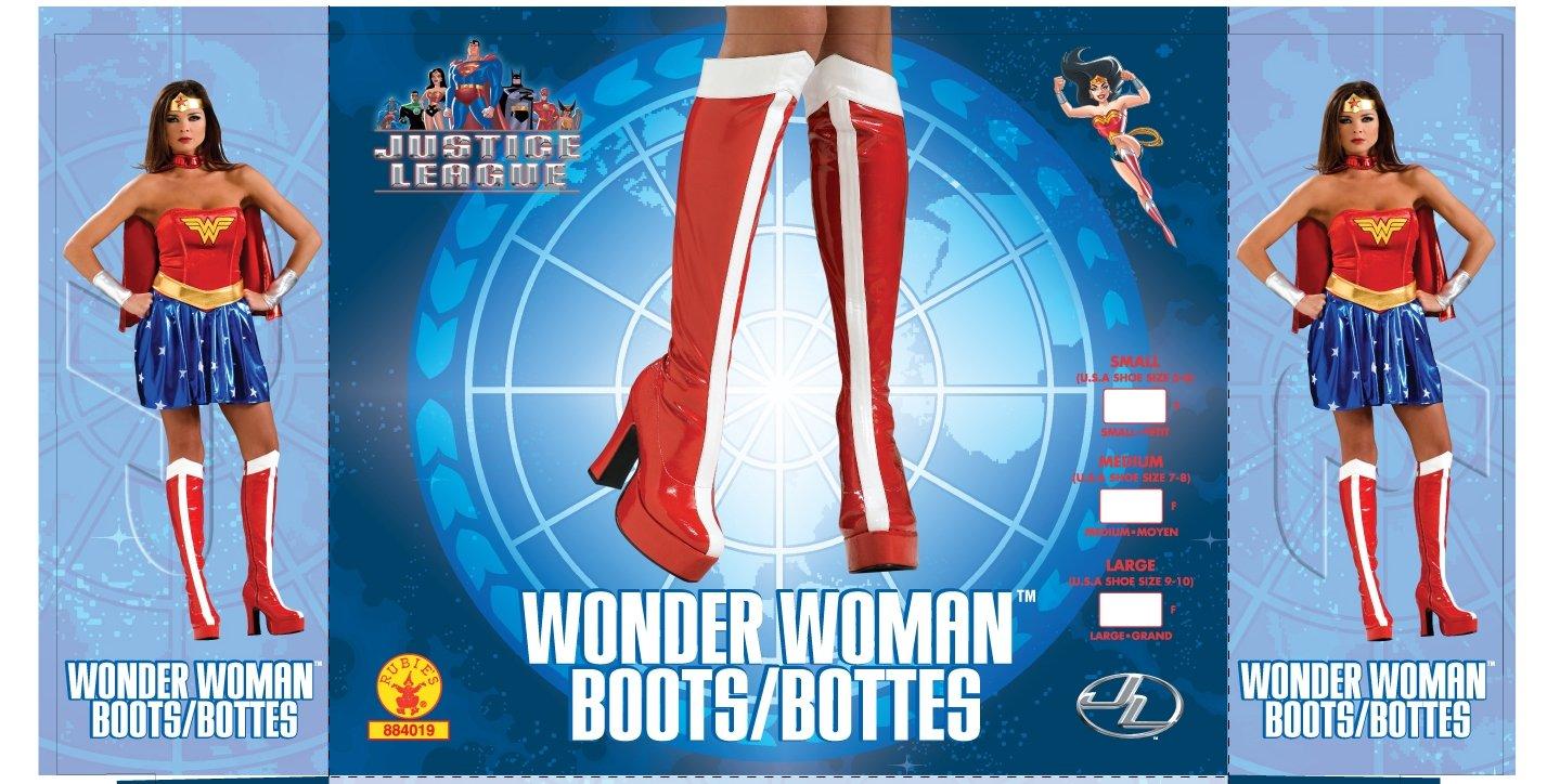Rubie's Offizielle Wonder Woman Stiefel Knie Hoch – Große Damen Erwachsene Kostüm Große – 8–9 Jahre - 7c5846