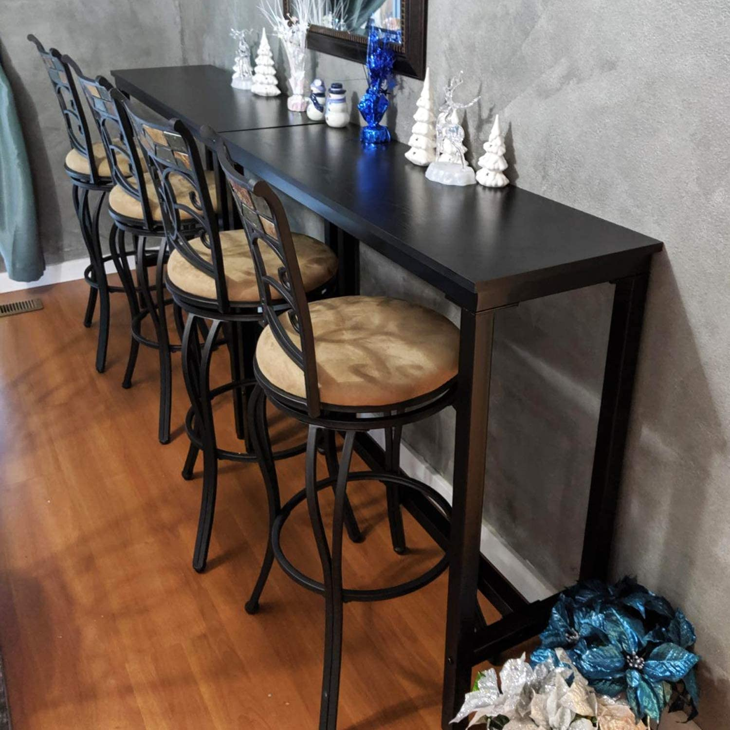 """Mr IRONSTONE 55.1/"""" Bar Table Pub Dining Height Table Black Bistro Table Indoor USE ONLY"""