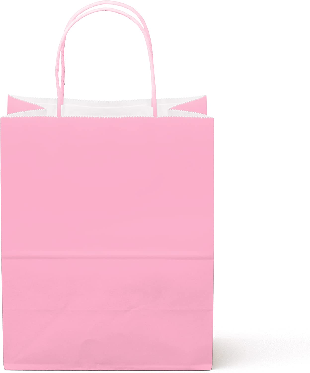 """24 Counts Food Safe Premium Paper and Ink Medium 10"""" X 8"""", Vivid Colored Kraft Bag with Colored Sturdy Handle, Perfect for Goodie Favor DIY Bag, Environmentally Safe (Medium, Light Pink)"""