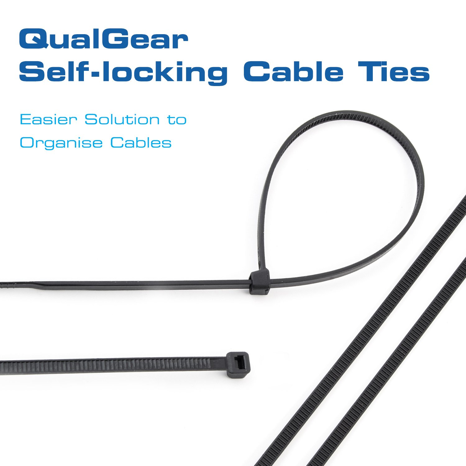 QualGear CT5-B-100-P Self-Locking Cable Ties, 8-Inch, Black 100/Poly Bag by QualGear (Image #2)