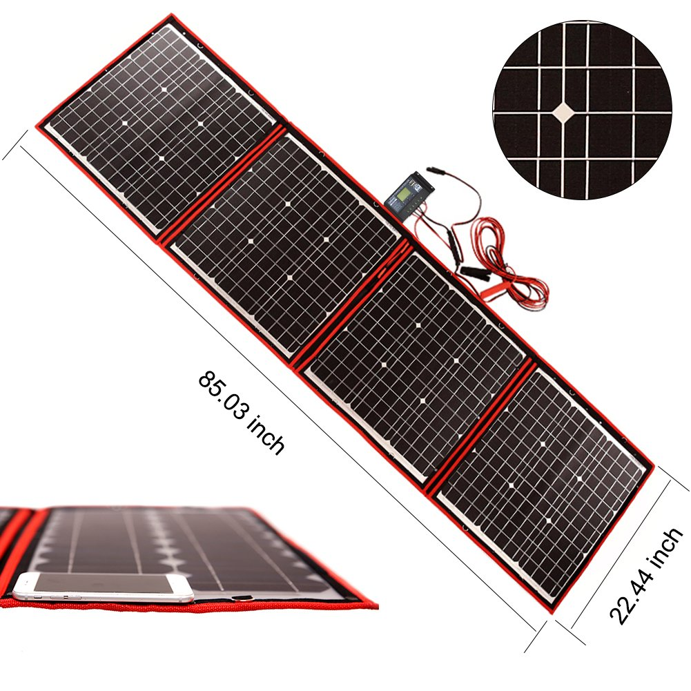 Dokio 160 Watts 12 Volts Monocrystalline foldable Solar Panel with Inverter Charge Controller