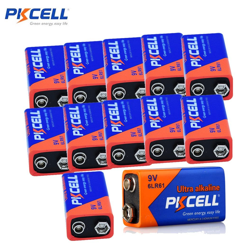 12 Pack Ultra Alkaline Battery 9V 9Volts 720minutes Superior to 6f22 carbon zinc battery PKCELL