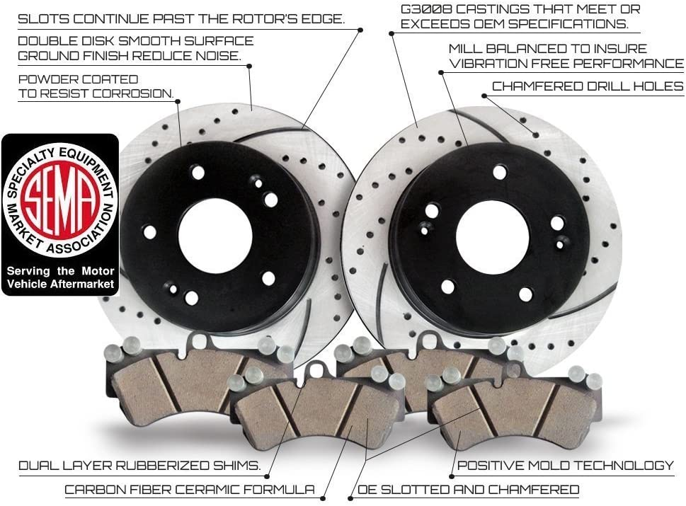Premium Performance Drilled//Slotted Brake Rotors and Ceramic Carbon Fiber Pads SRT-8 Only Approved Performance C1834 Rear Kit