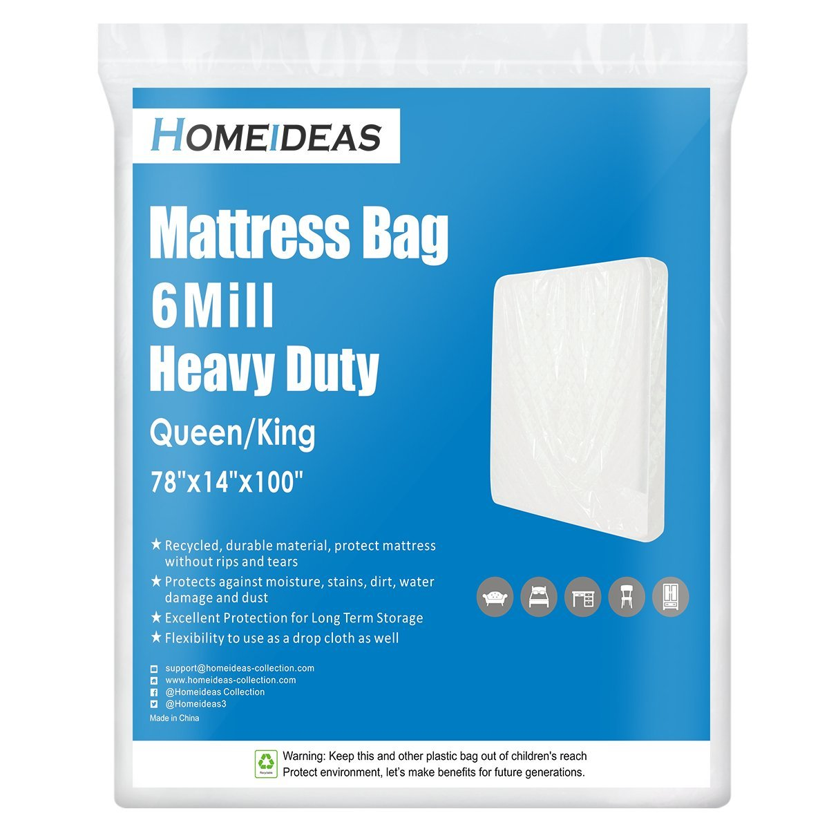 HOMEIDEAS 6 Mil Super Thick Mattress Bag for Moving, Storage or Disposal, Fits Queen/King Size