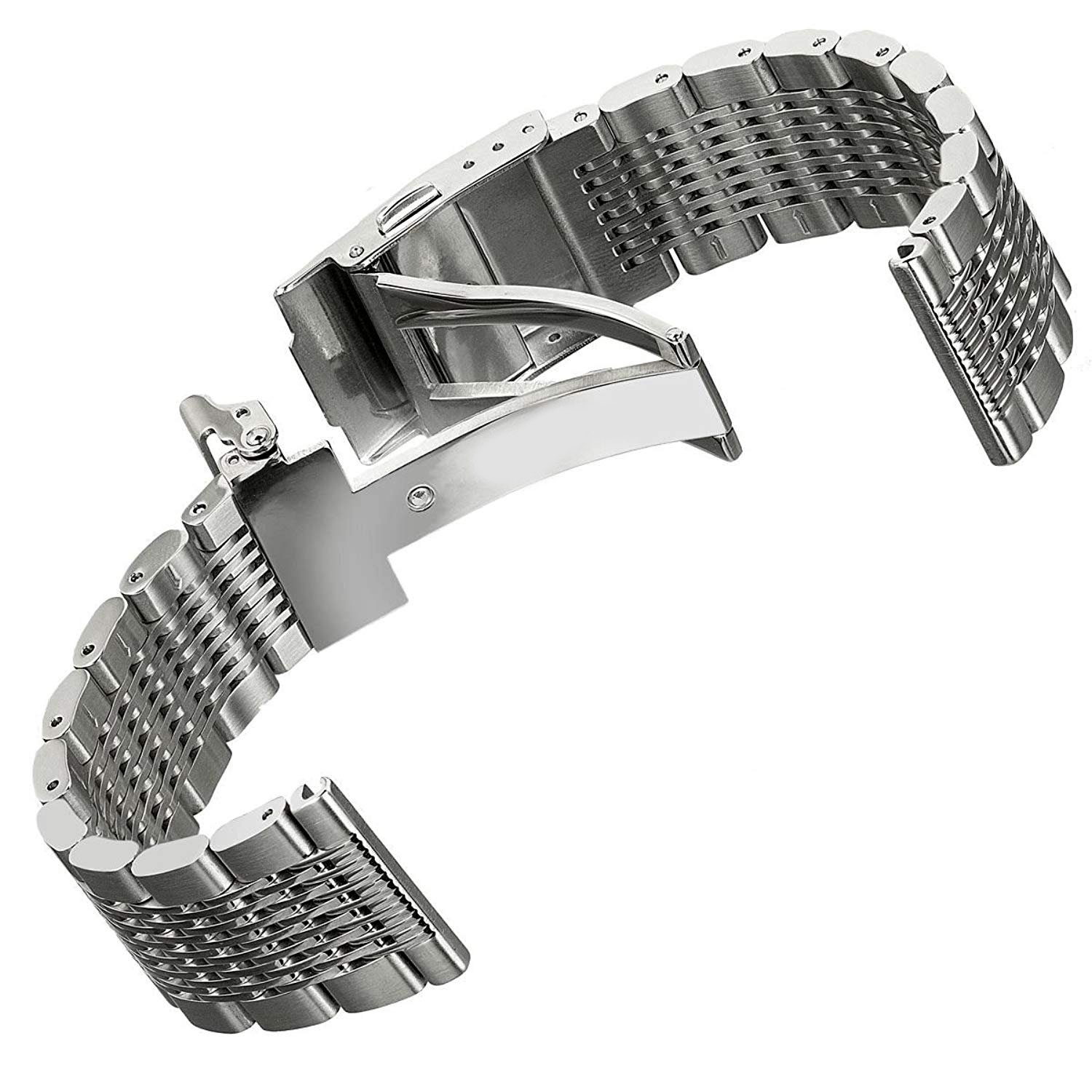 Solid Mesh Stainless Steel Bracelets 20mm/22mm/24mm Watch Bands Deployment Buckle Brushed/Polished Strap for Men Women by Hstrap (Image #2)