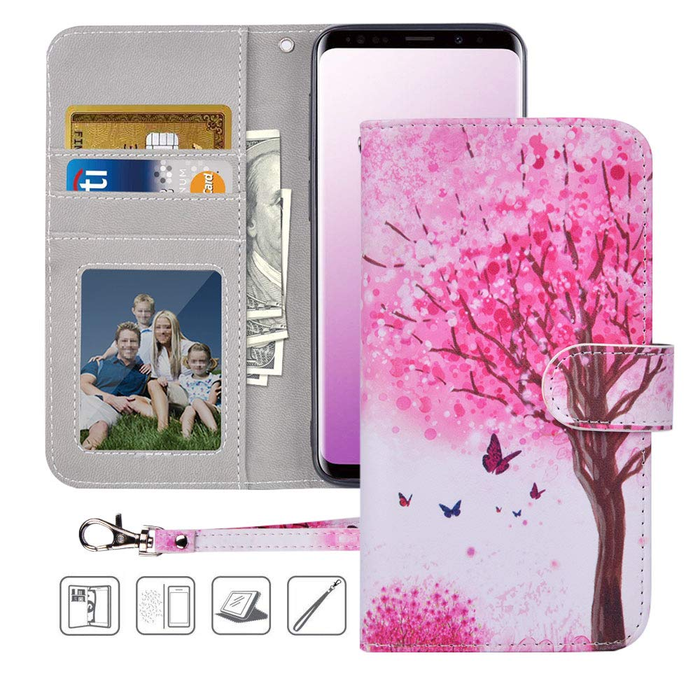 Urbeutyke Galaxy S9 Plus Wallet Case,Galaxy S9 Plus Case, Premium PU Leather Flip Folio Case Cover with Wrist Strap,Card Slots,Cash Pocket,Kickstand for Samsung Galaxy S9 Plus - Pink tree