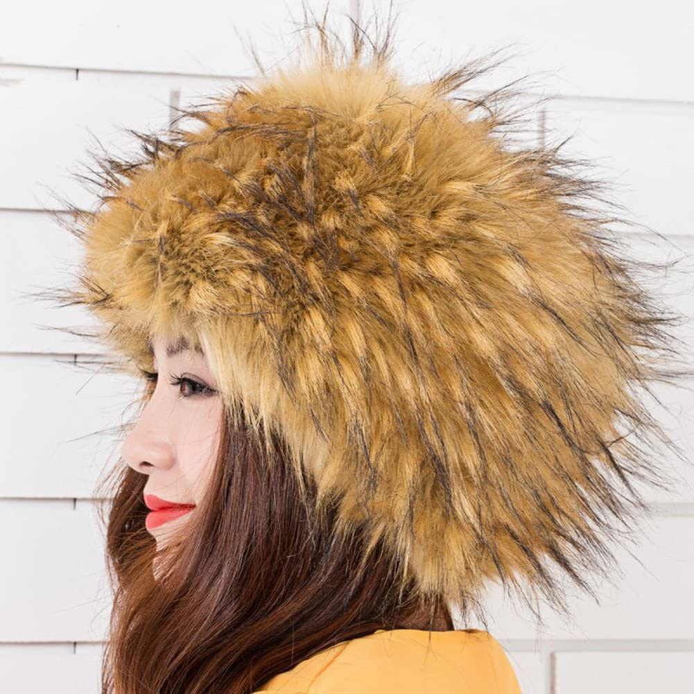 LASHER Womens Cossack Russian Style Faux Fur Hat Winter Warm Cap