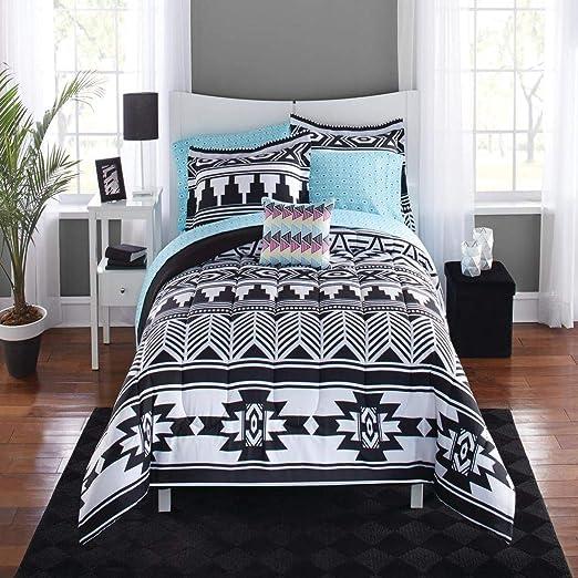 Amazon.com: 8 Piece Black White Southwest Comforter Full Set